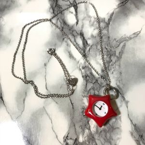 Marc by Marc Jacobs Red Star Watch Necklace